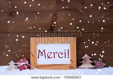 Frame With Christmas Decoration, Snowflake, Merci Mean Thank You