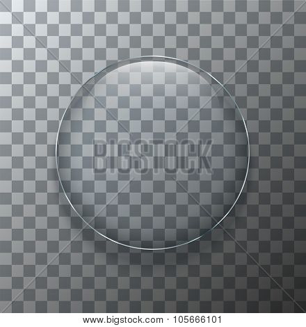Vector modern transparent circle glass plate