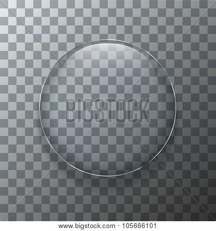 Vector modern transparent circle glass plate