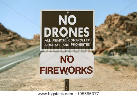 No drones all remote controlled aircraft are prohibited sign.