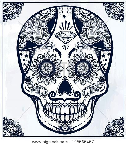 Sugar skull in floral frame illustration.
