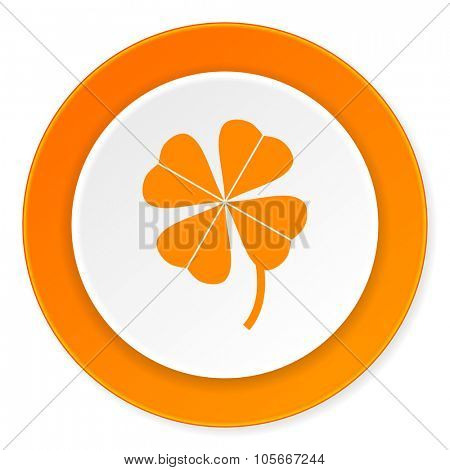 four-leaf clover orange circle 3d modern design flat icon on white background