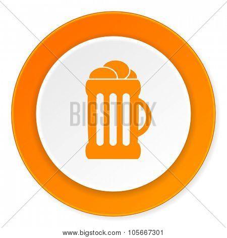 beer orange circle 3d modern design flat icon on white background