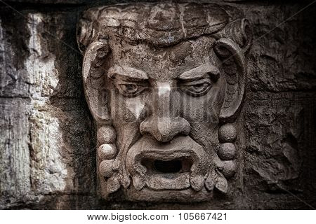 Stone Bas-relief A Kind Of A Head Of A Demon
