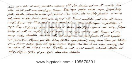 Handwritten letter - latin text Lorem ipsum written by brown ink