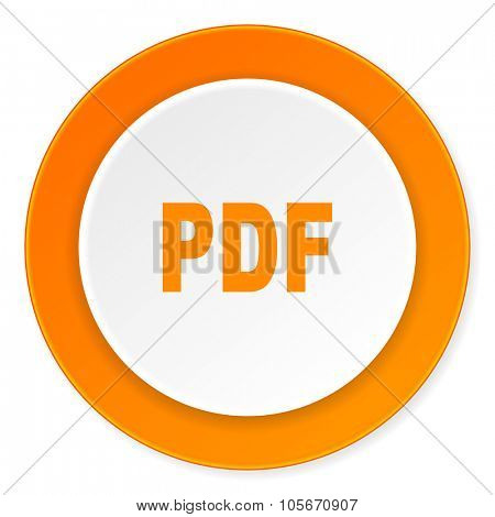 pdf orange circle 3d modern design flat icon on white background