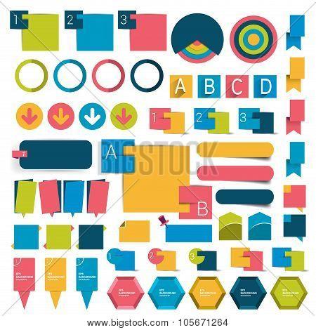 Big Set Infographics Flat Design Buttons.