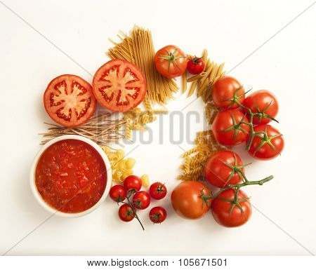 tomatoes and pasta variety , top view image