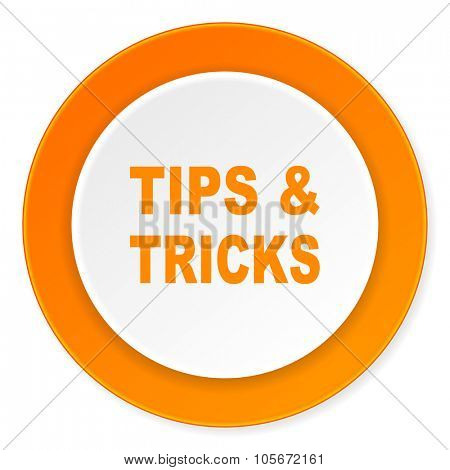 tips tricks orange circle 3d modern design flat icon on white background