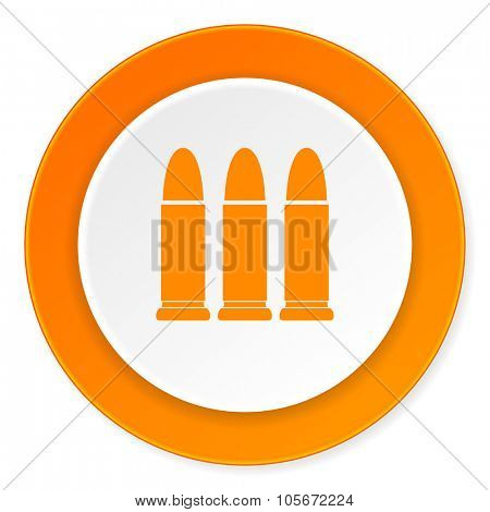 ammunition orange circle 3d modern design flat icon on white background