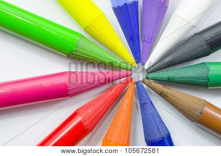 Woodless Colored Pencil Heads Macro Closeup