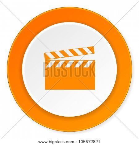 video orange circle 3d modern design flat icon on white background