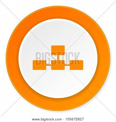 database orange circle 3d modern design flat icon on white background