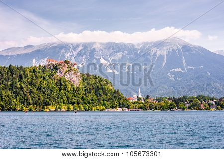 Bled Castle At Bled Lake In Slovenia