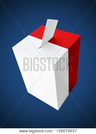 Polish red and white ballot box with voting card on dark blue background