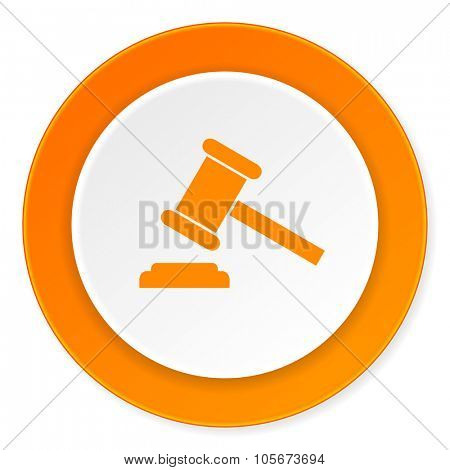 auction orange circle 3d modern design flat icon on white background