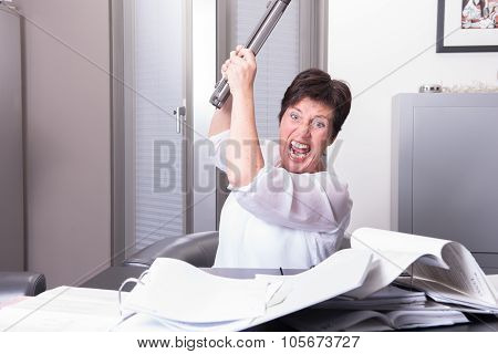 Woman Is Destroying Her Pc - Overworked