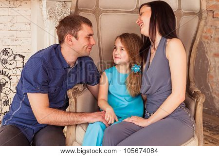 Happy family in their living room