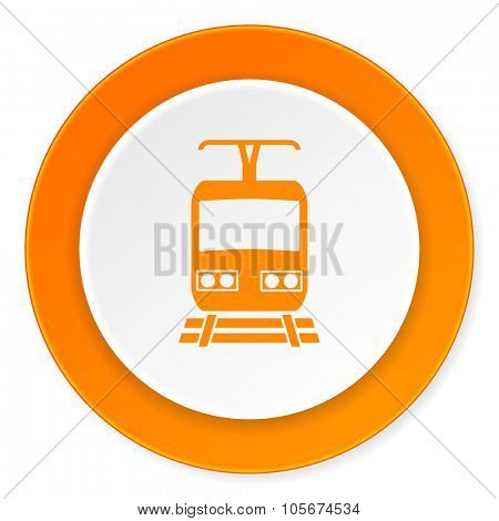 train orange circle 3d modern design flat icon on white background
