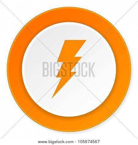 bolt orange circle 3d modern design flat icon on white background