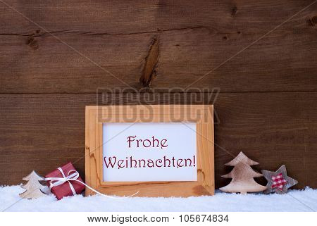 Frame With Snow, Frohe Weihnachten Mean Merry Christmas