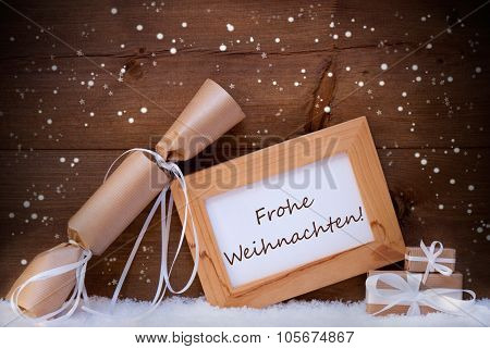 Gift With Text Frohe Weihnachten Mean Merry Christmas, Snowflake