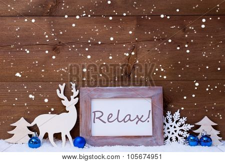 Christmas Card With Blue Decoration, Relax, Snow And Snowflakes