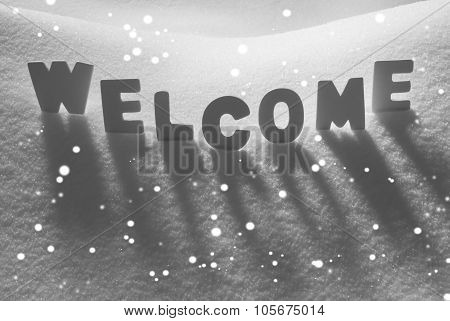 White Word Welcome On Snow, Snowflakes
