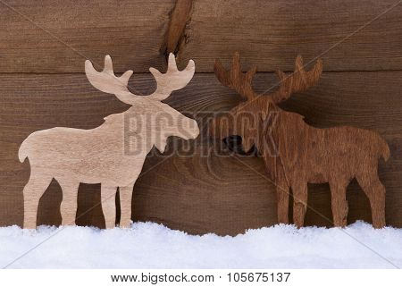 Christmas Decoration, Moose Couple In Love, Snow