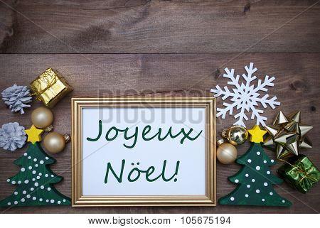 Frame With Decoration, Joyeux Noel Mean Merry Christmas