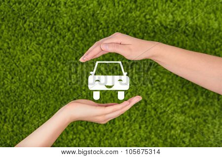 Car,automobile Insurance Concept.two Hands With Protective Gesture Protecting An Icon Of Car.
