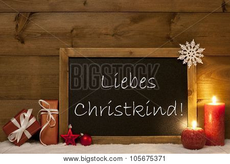 Christmas Card, Blackboard, Snow, Christkind Mean Santa Claus