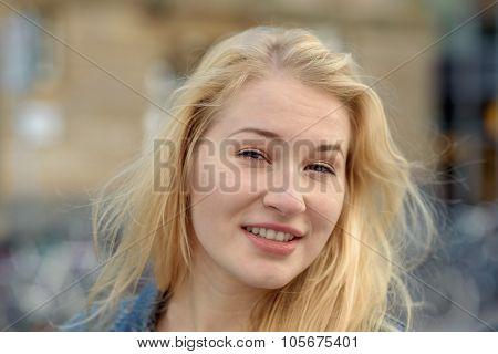 Portrait Of Young Blond Beautiful Woman