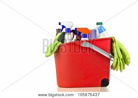 Cleaning products over a white background