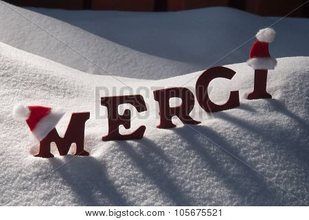 Christmas Card With Snow, Merci Mean Thank You, Santa Hat