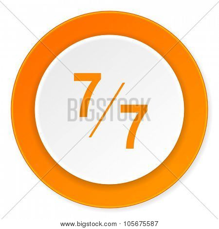 7 per 7 orange circle 3d modern design flat icon on white background