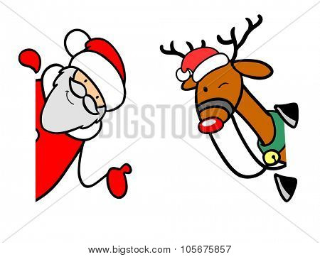 Santa Claus and reindeer at christmas looking around a corner
