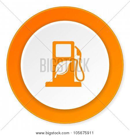 biofuel orange circle 3d modern design flat icon on white background