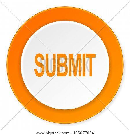 submit orange circle 3d modern design flat icon on white background
