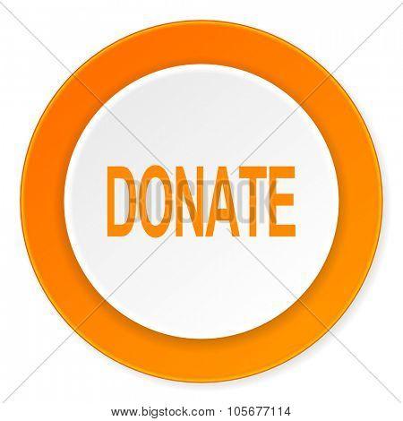 donate orange circle 3d modern design flat icon on white background