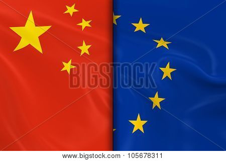 Flags Of China And The European Union Split Down The Middle - 3D Render Of The Chinese Flag And Eu F