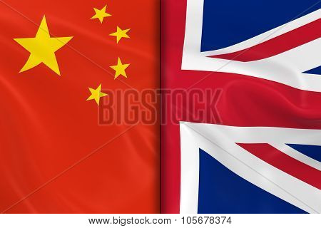 Flags Of China And The United Kingdom Split Down The Middle - 3D Render Of The Chinese Flag And Uk F