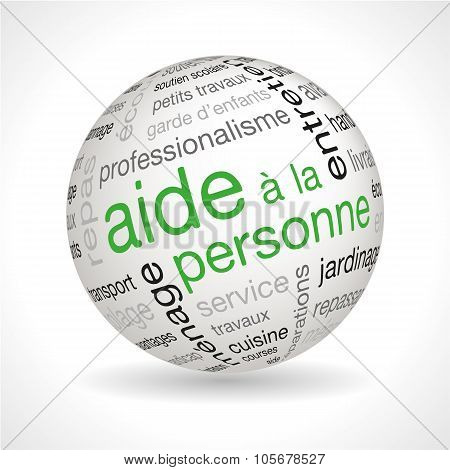 French Personnal Assistance Theme Sphere With Keywords