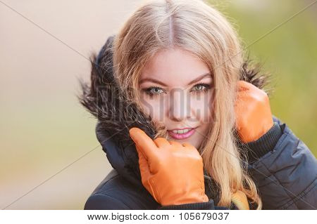 Portrait Of Pretty Attractive Woman In Jacket.
