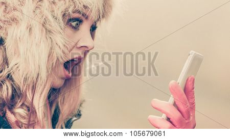 Scared Afraid Woman Talking On Mobile Phone.