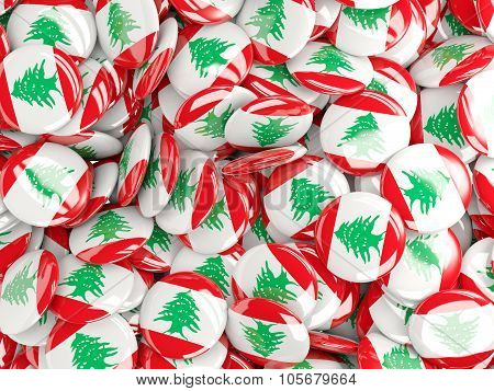 Background With Round Pins With Flag Of Lebanon
