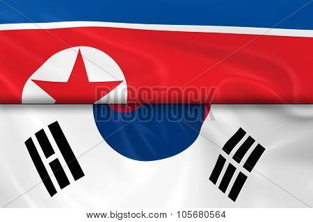 Flags Of North Korea And South Korea Split In Half - 3D Render Of The North Korean Flag And South Ko
