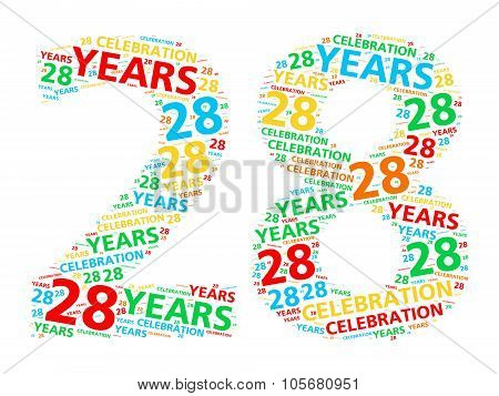 Colorful word cloud for celebrating a 28 year birthday or anniversary