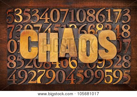 chaos and numbers word abstract in vintage letterpress wood type printing blocks