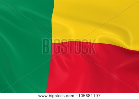 Waving Flag Of Benin - 3D Render Of The Beninese Flag With Silky Texture